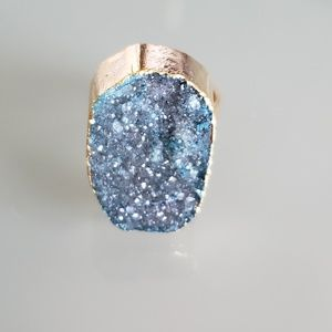 Gold Druzy Stone Crystal ring
